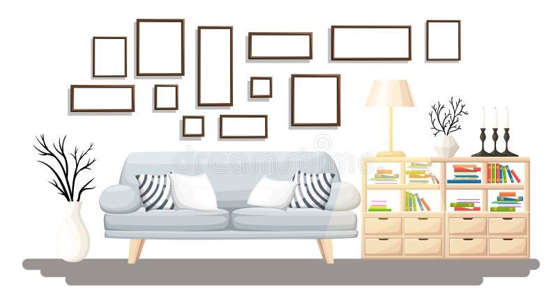 Wewnętrzny projekt Nowożytny żywy pokój z popielatą kanapą, wazą, półką z książkami i podłogową lampą, Mieszkania wnętrze w płask royalty ilustracja