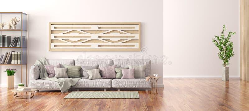 Wewnętrzny projekt nowożytny żywy pokój z szarą kanapą, półka na książki z książkami, 3d renderin ilustracji