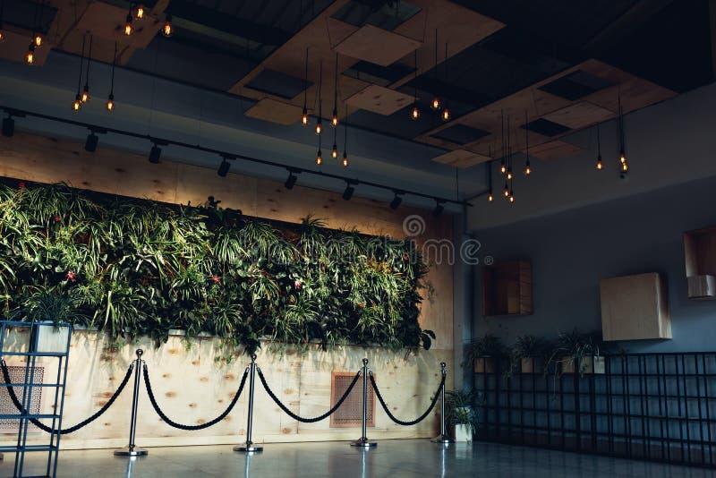 Wewnętrzny projekt nowożytny hotelu lobby Centrum handlowe sala Centrum biznesu korytarz Ściana Z roślinami obraz royalty free