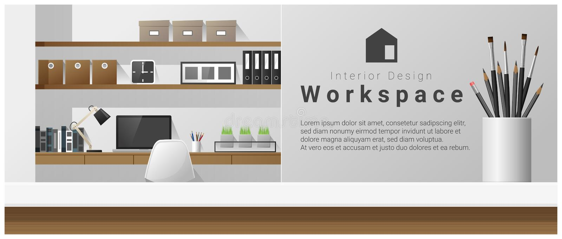 Wewnętrzny projekt z stołowym wierzchołkiem i Nowożytnym biurowym miejsca pracy tłem ilustracja wektor