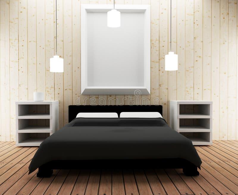 Wewnętrzny sypialni loft projekt w 3D ilustraci ilustracja wektor