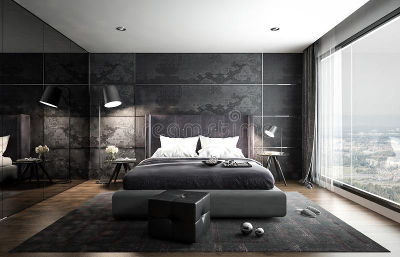 Wewnętrzny sypialnia egzamin próbny, czarny nowożytny styl, 3D rendering, 3D ja royalty ilustracja