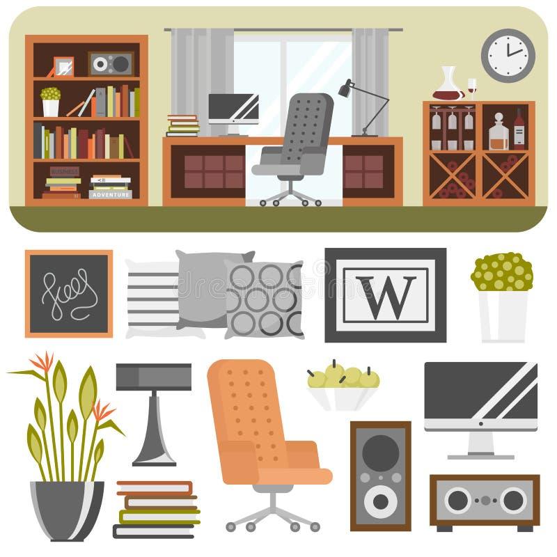 Wewnętrzny szczegółu projekt stylizował rysunkowego nowożytnego wnętrze domu siedziby luksusowego mieszkania dekoraci meblarskieg ilustracja wektor