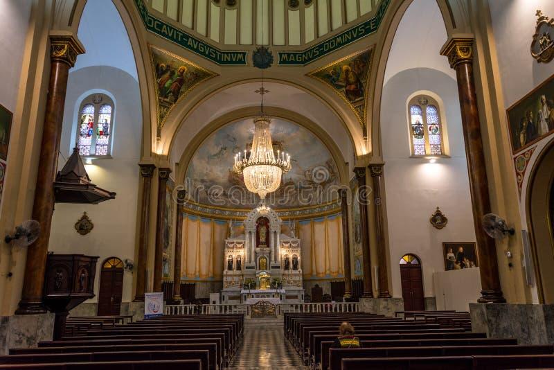 Wewnętrzny widok Świątobliwy Augustin kościół w Sao Paulo, Brazylia fotografia royalty free