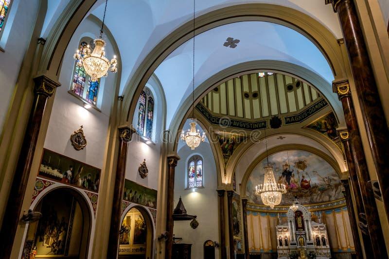 Wewnętrzny widok Świątobliwy Augustin kościół w Sao Paulo, Brazylia obrazy royalty free