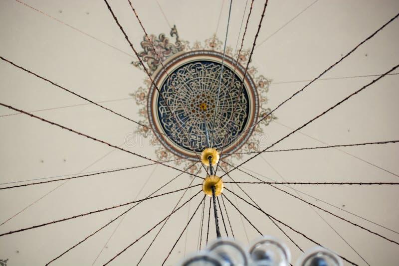 Wewnętrzny widok kopuła w Osmańskiej architekturze obrazy stock