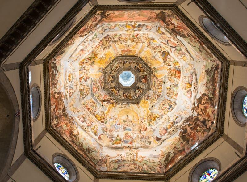 Wewnętrzny widok obraz kopuły bazyliki Di Santa Maria del Fiore (Duomo). Florencja obrazy stock