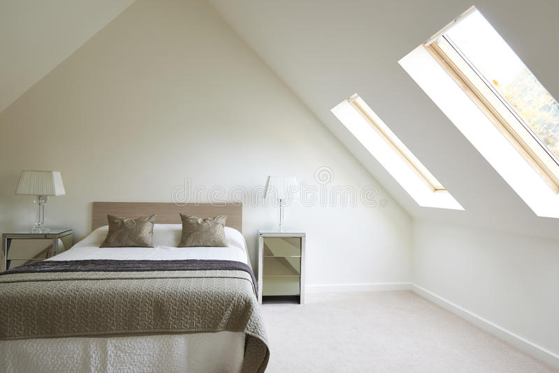 Wewnętrzny widok Piękna Luksusowa sypialnia fotografia stock