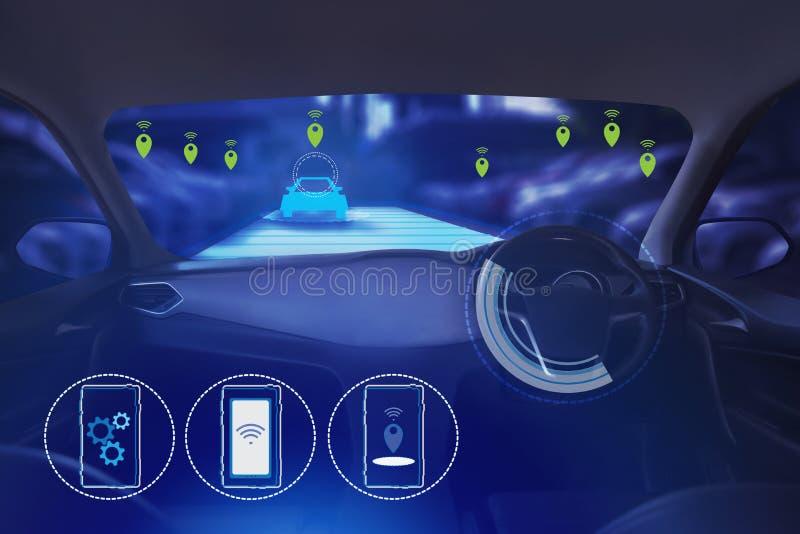 Wewnętrzny widok, pokazu ekran i automatyczny jaźni jeżdżenie, Elektryczna mądrze samochodowa technologia ilustracja wektor