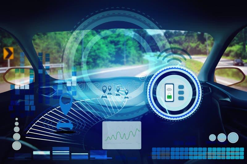 Wewnętrzny widok, pokazu ekran i automatyczny jaźni jeżdżenie, Elektryczna mądrze samochodowa technologia ilustracji