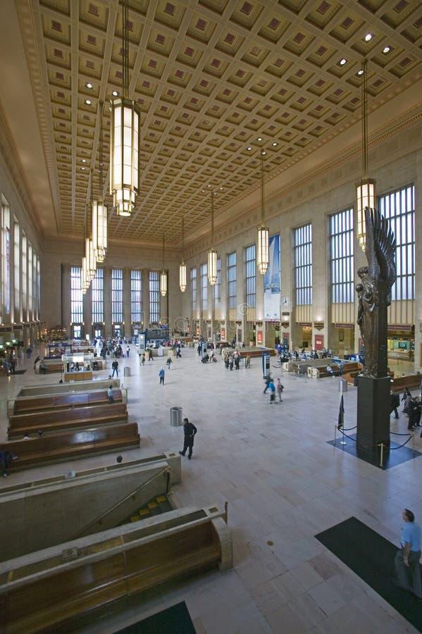 Wewnętrzny widok 30th ulicy stacja, krajowy rejestr Historyczni miejsca, AMTRAK dworzec w Filadelfia, PA obraz stock