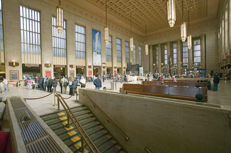 Wewnętrzny widok 30th ulicy stacja, krajowy rejestr Historyczni miejsca, AMTRAK dworzec w Filadelfia, PA obrazy royalty free