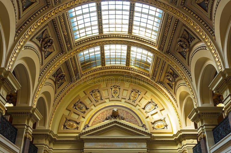 Wewnętrzny widok Wisconsin stanu Capitol w Madison zdjęcia royalty free