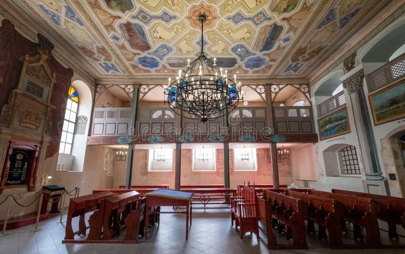 Wewnętrzny widok xvii wiek Kupy synagoga w Kazimierz historyczna Żydowska ćwiartka Krakow, Polska obraz stock