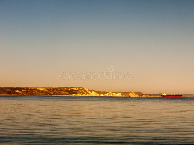 weymouth日落海滩海波浪海洋空间多西特美丽的景色风景 免版税库存照片