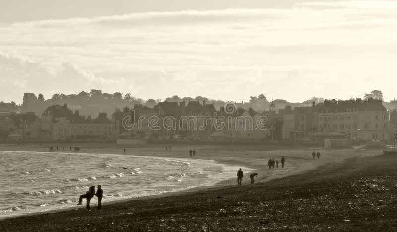 Weymouth beach in Dorset, England at Christmas royalty free stock photo