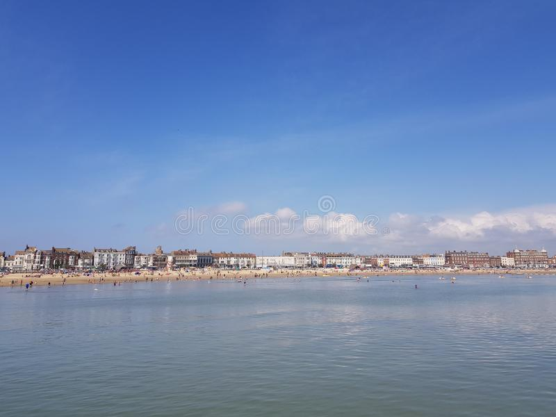 Weymouth beach view from sea stock photo