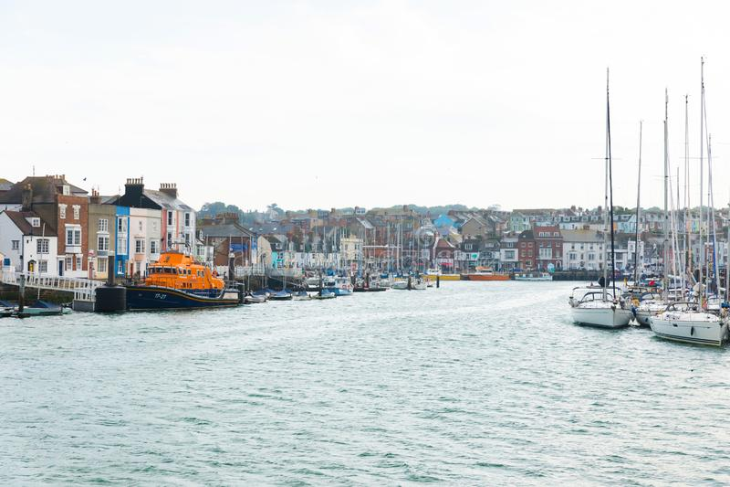 Weymouth, United Kingdom - 2017 July 18: pretty British river vi. Ew stock photos