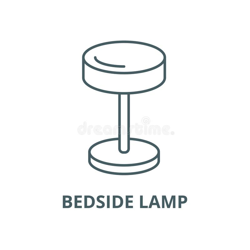 Wezgłowie lampy wektoru linii ikona, liniowy pojęcie, konturu znak, symbol royalty ilustracja