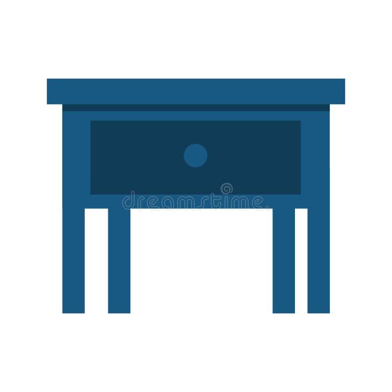Wezgłowie stół w drewnianej odosobnionej ikonie ilustracja wektor