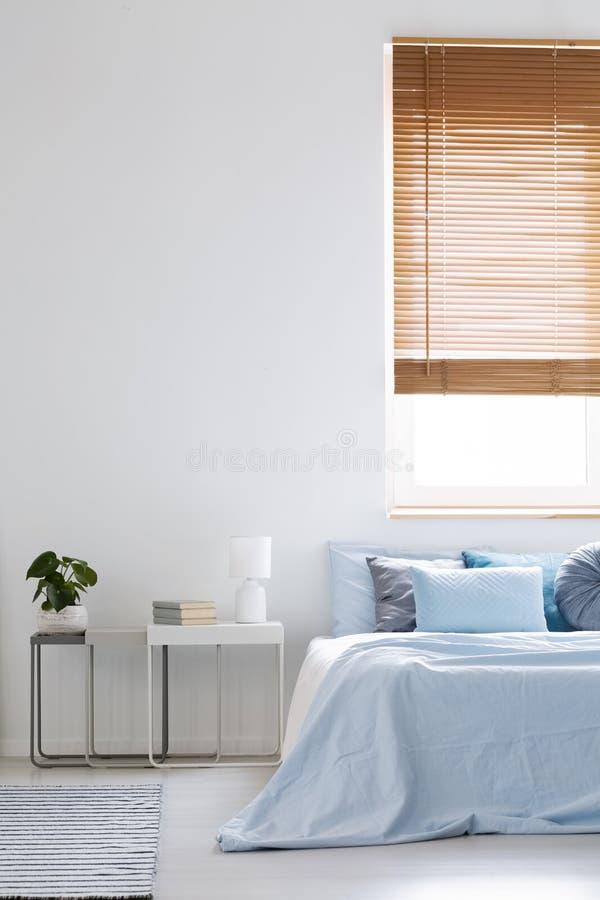 Wezgłowie stół z świeżą zieloną rośliną, książkami i lampowym pozyci ne, zdjęcie stock