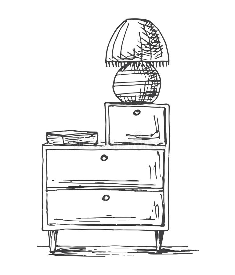 Wezgłowie stół z lampą Wektorowa ilustracja w nakreślenie stylu ilustracja wektor