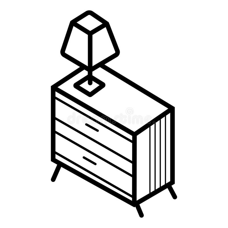 Wezgłowie stół z nocy lampy ikoną ilustracja wektor