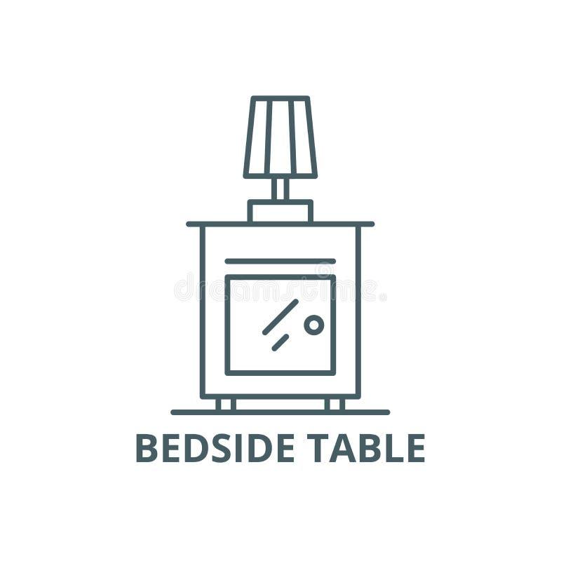 Wezgłowie stołu linii ikona, wektor Wezgłowie stołu konturu znak, pojęcie symbol, płaska ilustracja royalty ilustracja