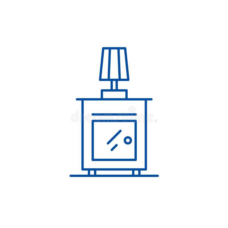 Wezgłowie stołu linii ikony pojęcie Wezgłowie stołu płaski wektorowy symbol, znak, kontur ilustracja royalty ilustracja