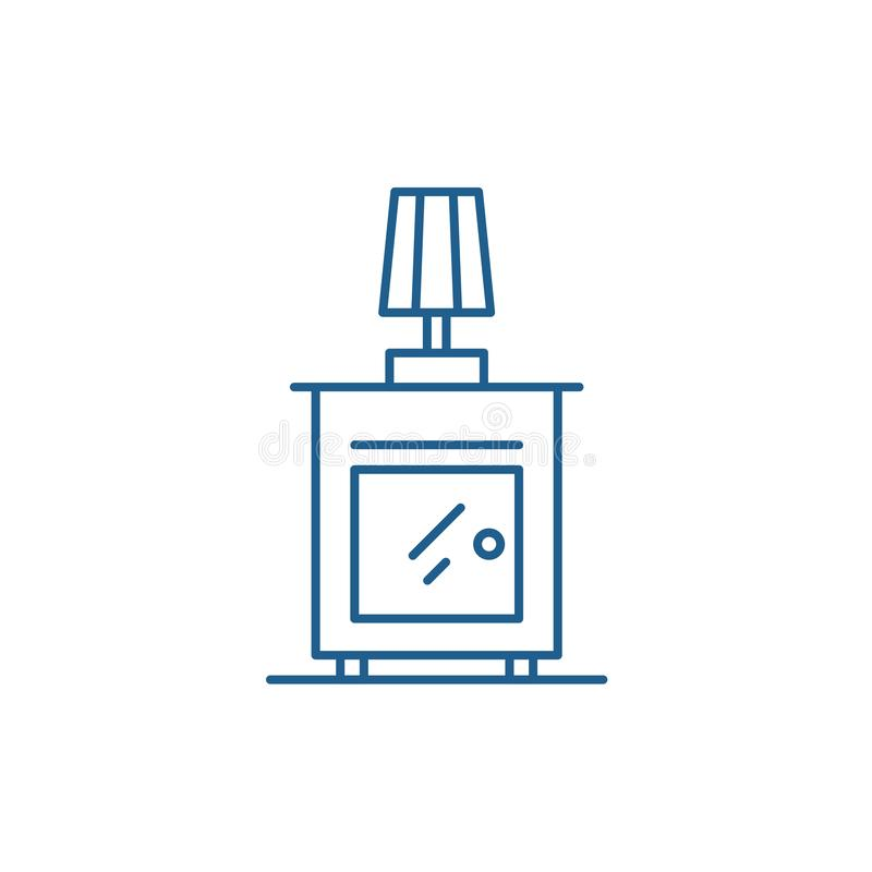 Wezgłowie stołu linii ikony pojęcie Wezgłowie stołu płaski wektorowy symbol, znak, kontur ilustracja ilustracja wektor