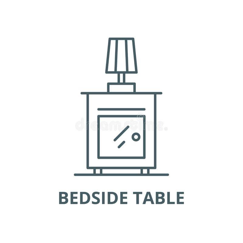 Wezgłowie stołu wektoru linii ikona, liniowy pojęcie, konturu znak, symbol ilustracja wektor