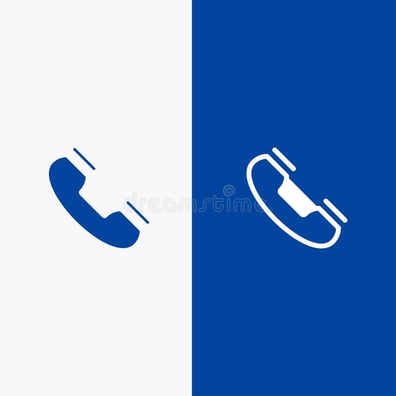 Wezwania, kontaktu, telefonu, telefonu, pierścionek linii i glifu Stałej ikony sztandaru glifu, Błękitnej ikony błękita Stały szt ilustracja wektor