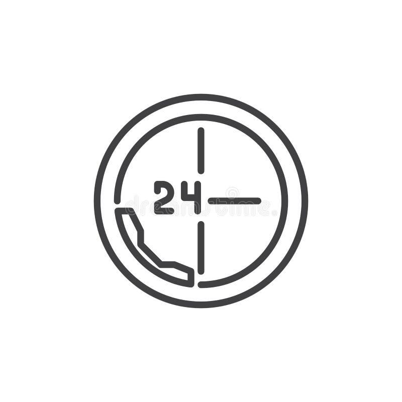 Wezwanie 24 godziny kreskowej ikony ilustracja wektor