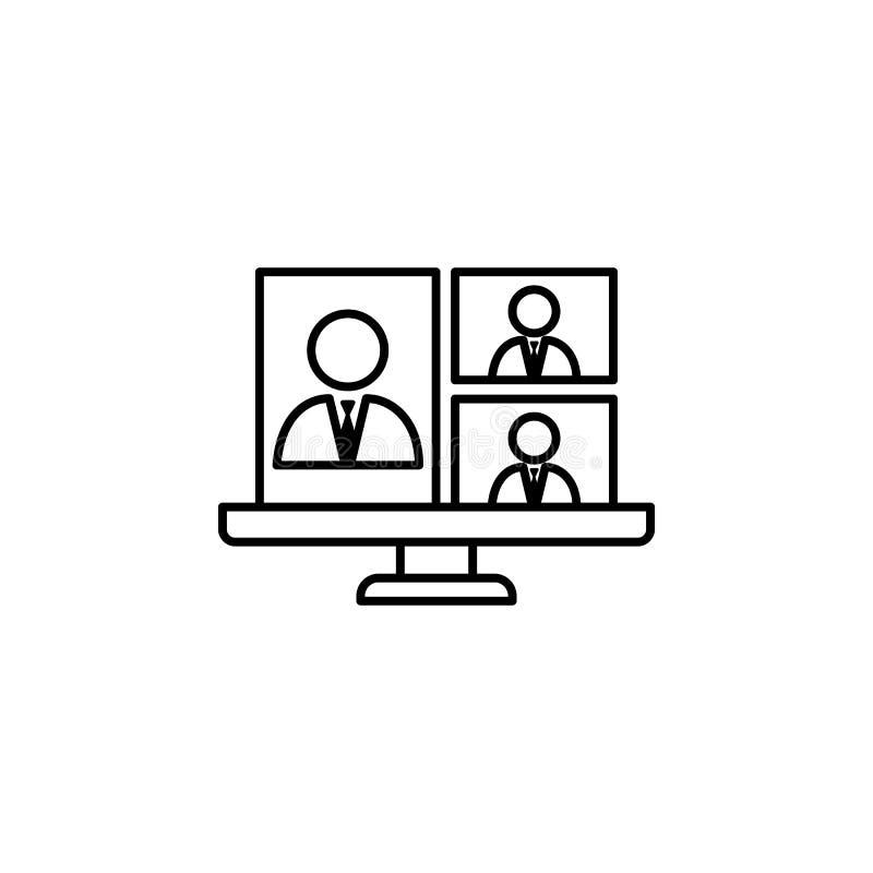 Wezwanie, konferencja, laptop, biznesowa rozmowy ikona na białym tle Może używać dla sieci, logo, mobilny app, UI, UX ilustracja wektor