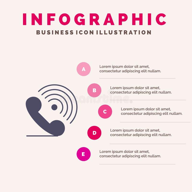 Wezwanie, telefon, odbiorca, pierścionek, sygnał ikony Infographics 5 kroków prezentacji Stały tło royalty ilustracja