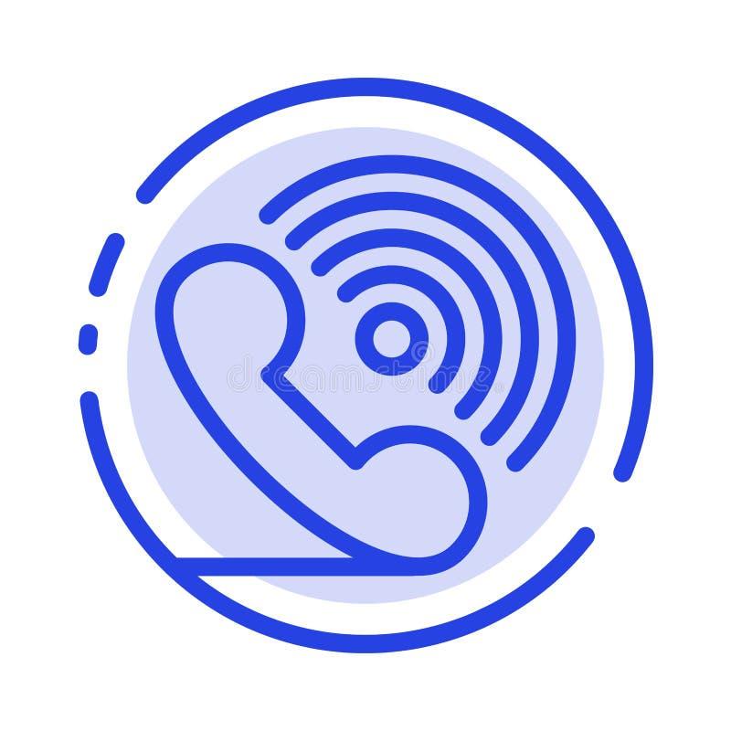 Wezwanie, telefon, odbiorca, pierścionek, sygnał linii linii błękit Kropkująca ikona ilustracji
