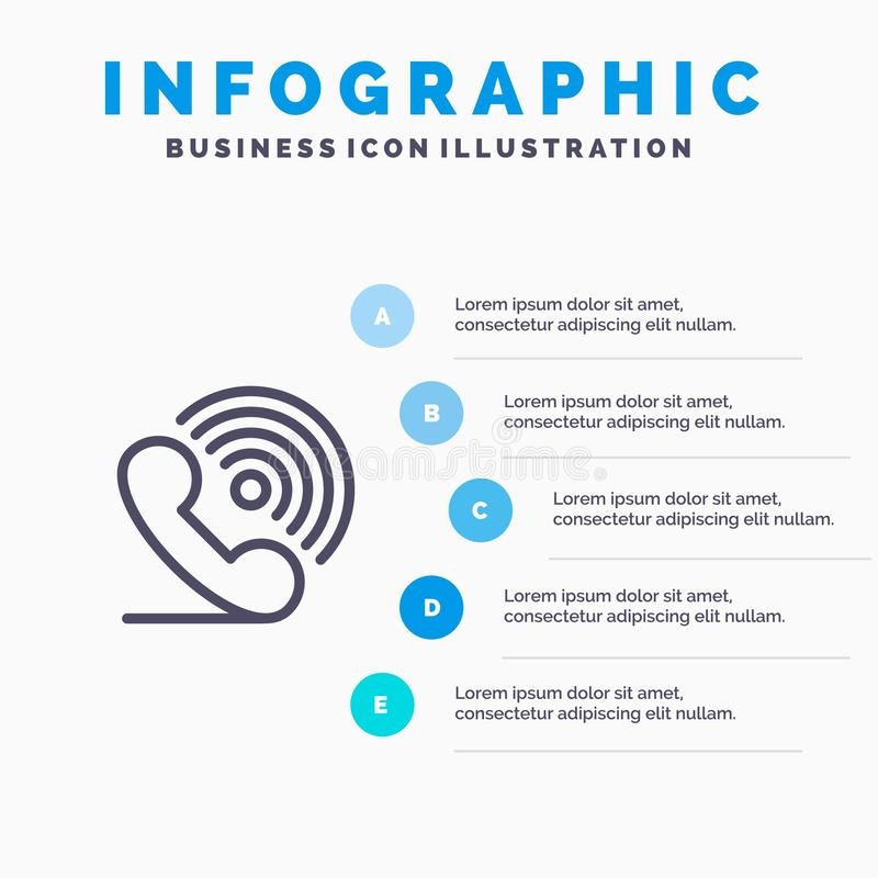 Wezwanie, telefon, odbiorca, pierścionek, sygnał linii ikona z 5 kroków prezentacji infographics tłem ilustracja wektor