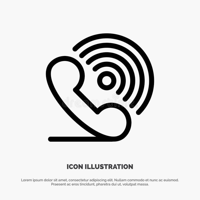 Wezwanie, telefon, odbiorca, pierścionek, sygnał linii ikony wektor ilustracja wektor