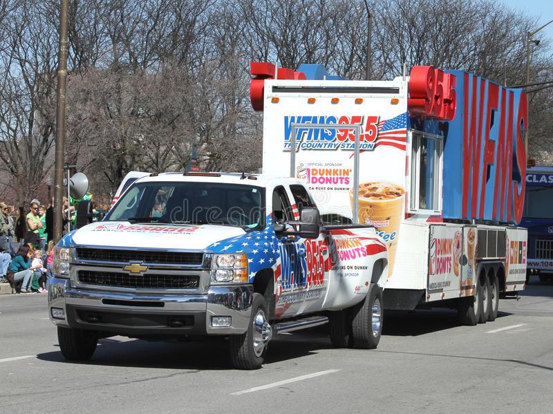 WFMS 95.5 The Country Station Truck at the Annual St Patrick's Day Parade royalty free stock photography