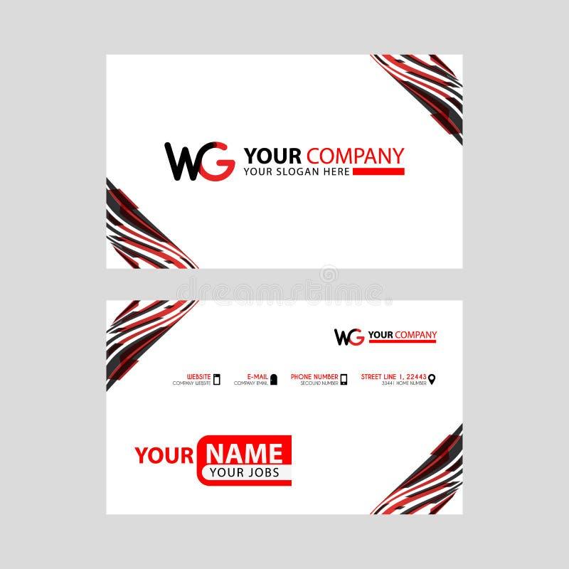 wg loga list z pudełkowatą dekoracją na krawędzi i premiowa wizytówka z układem, nowożytnym i horyzontalnym obraz stock