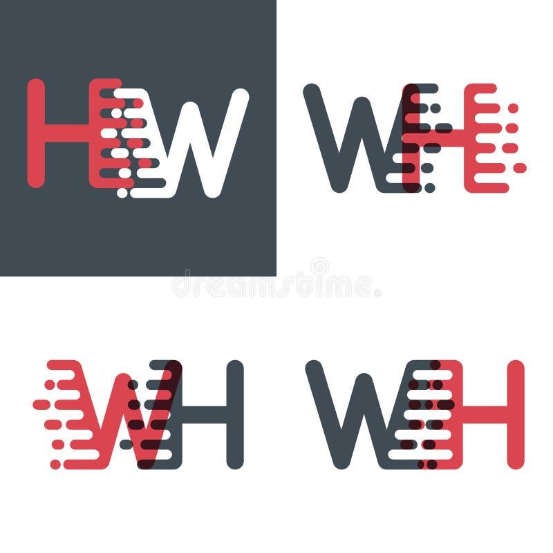 WH marque avec des lettres le logo avec le rose de vitesse d'accent et gris-foncé illustration stock