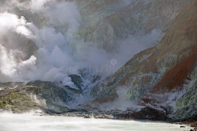 Whakaari of het Witte meer van de Eilandkrater in Nieuw Zeeland stock fotografie