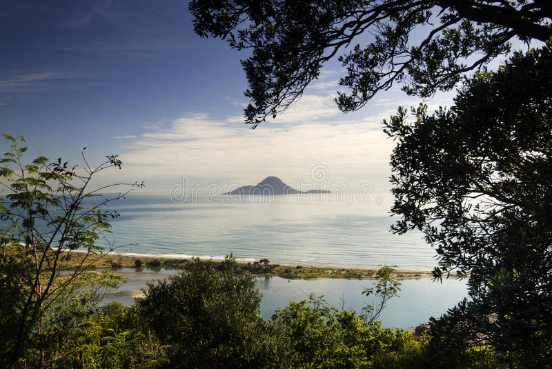 Whakatane, New Zealand. A view of Whale Island ( Moutohora ), Whakatane, North Island, New Zealand. Blue sky, sunny day stock photography