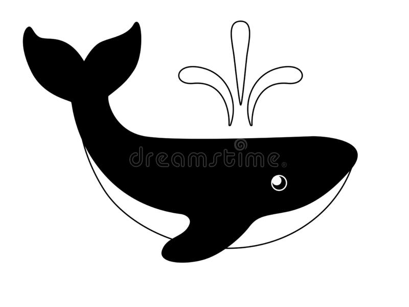 The whale is big. Black and white image of a marine mammal. Logo with the image of a whale from the fountain from the back. vector illustration