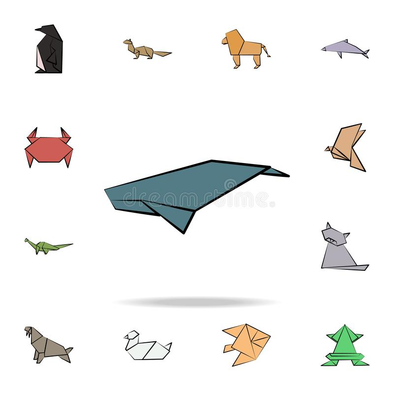 Whale colored origami icon. Detailed set of origami animal in hand drawn style icons. Premium graphic design. One of the. Collection icons for websites, web stock illustration
