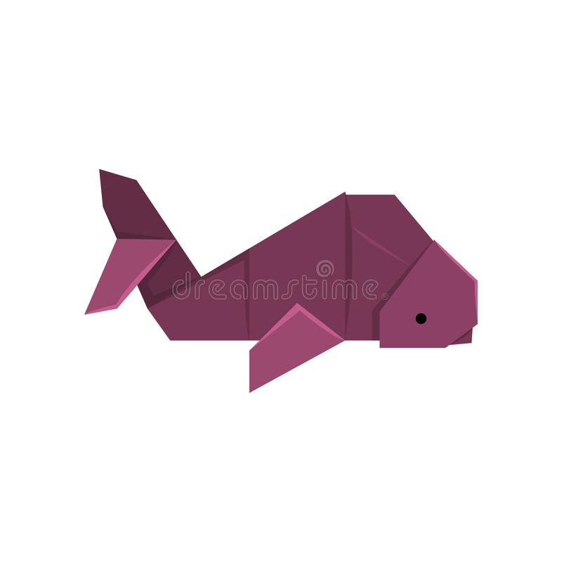 Whale fish origami paper animal vector Illustration on a white background stock illustration