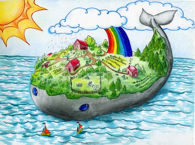 Whale island. Fairy tale island and village on the whales back. Crayon drawing