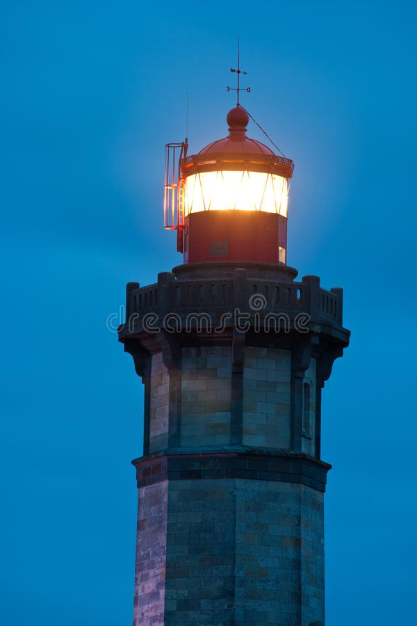 Whale Lighthouse at night, Lantern closeup royalty free stock images
