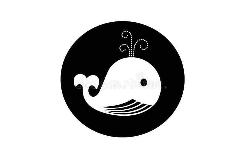 Whale, logo illustration design on white background. Animal, big, banner, label, fish, swim, cute, cartoon, character, element, drawing, marine, sea, isolated royalty free illustration