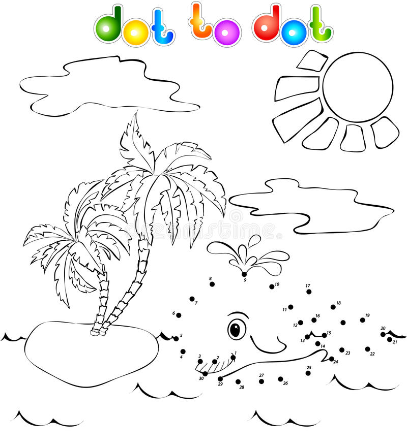 Free Whale Near The Island With Palms Dot To Dot Royalty Free Stock Images - 39501669